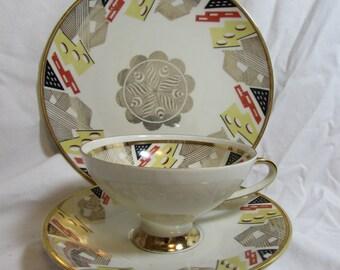 Vintage Teacup, Saucer, and Dessert Plate Set, Winterling, Handpainted, Bavaria, 1960's