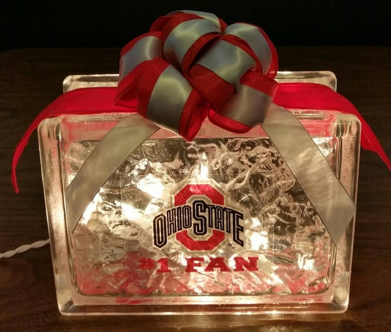 Ohio State Buckeyes 1 Fan Lighted Glass Block Nightlight