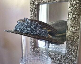c1916 Blue straw hat