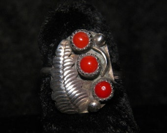 Native American Sterling Silver Ring Red Coral