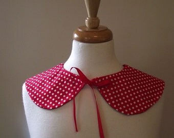Detachable Peter Pan Collar White Polkadot Polkadots on Red Retro Pinup Pin Up Rockabilly 50's Sock Hop for Dress