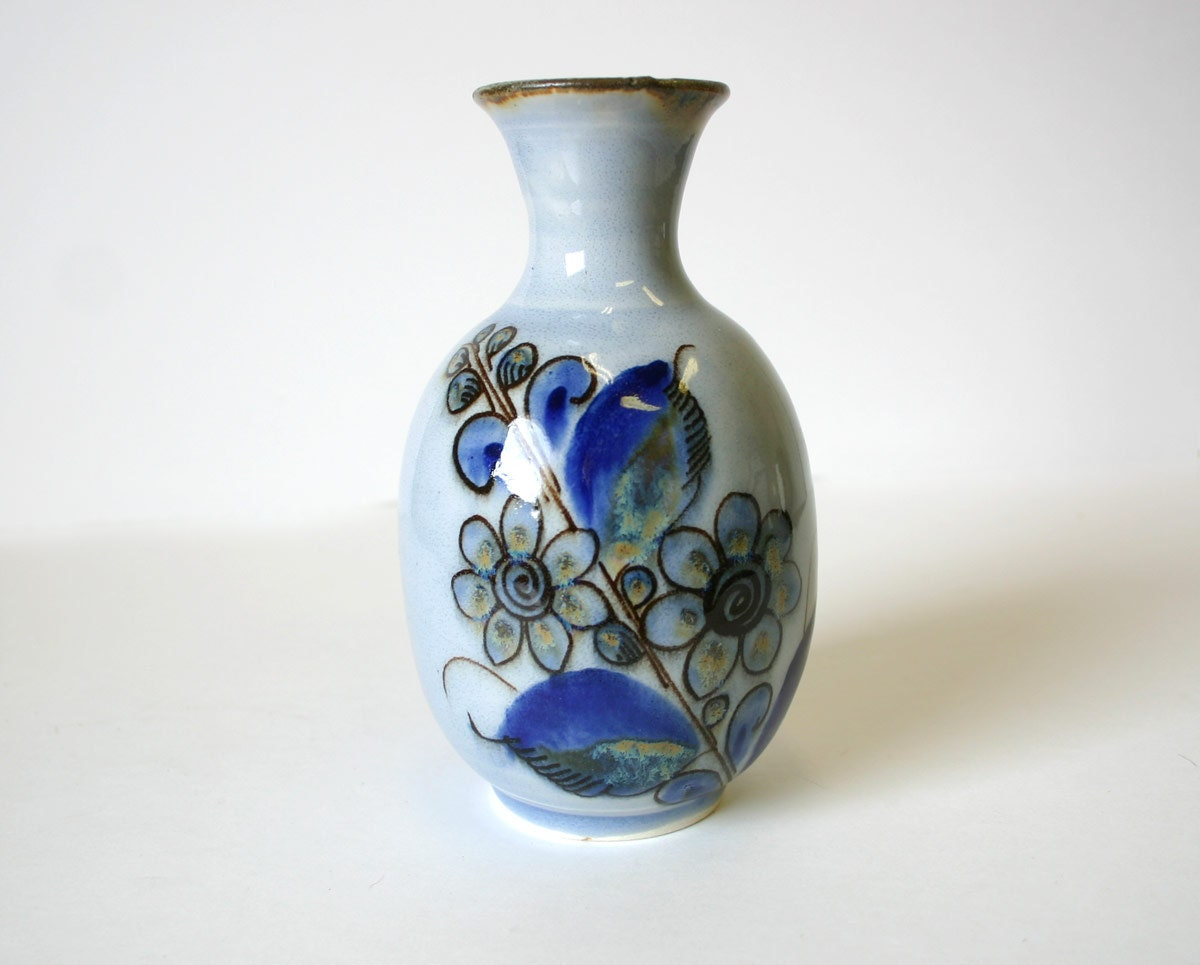 Mexican Pottery Vase Mexico Ceramic Blue Bird by ...