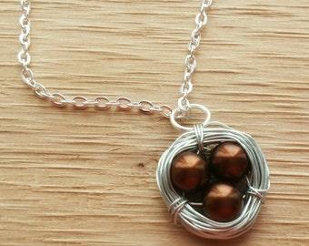 grandma necklace, brown necklace, bird nest necklace, spring necklace, Bird's nest necklace,  pearl necklace, mom gift mom,