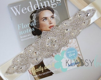 Stunning Ivory Elizabeth Crystal Bridal Sash/Belt
