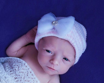 FLaSH SaLE Newborn Hospital Hat! Solid Pink and White Hat with WhiteTulle Bow and Rhinestone. Newborn  Beanies. Great Gift!