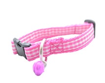 Pink Tartan Check Gingham Kitten Puppy Collar