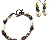 7 inch Sterling Silver / Freshwater Pearl Bracelet and Earring Set