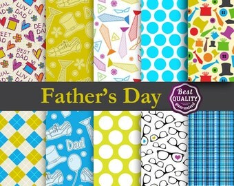 50% OFF Father's Day Digital Paper w/ Mustaches, Glasses and more to use in scrapbooking, card making and backgrounds * Instant Download