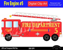 Fire Engine, Fire Truck, Fire Truck Clipart, Fire Engine Clipart, Commercial Personal Use Instant Download Royalty Free