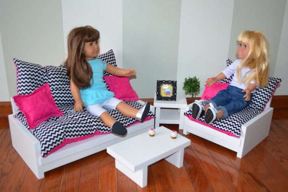 Pc living room set for american girl doll sofa chair end table