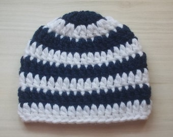 Navy blue baby hat, striped baby hat, crochet boy hat, infant striped hat, newborn hospital hat, boy take home outfit, newborn boy outfit