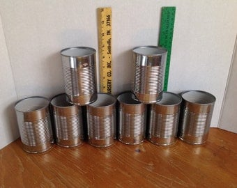 Empty Craft Can Supplies Round 4.5 Inches Tall For UpCycling ReUse ReCycle Lot of  8 Similar Size Metalworking Wedding Decor Storage
