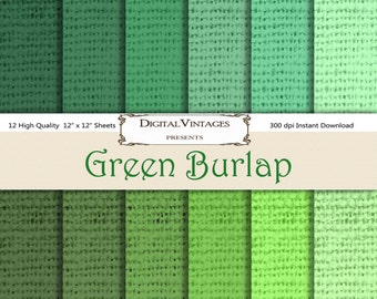 Burlap Digital Paper, Green Burlap, Digital Papers, burlap background paper, grungy digital paper, Textured Paper, textured digital paper