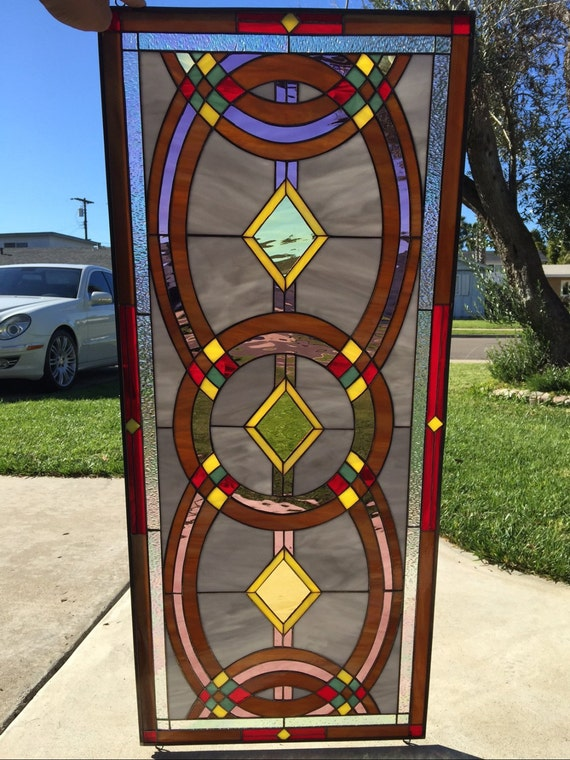 Colorful Geometric Stained Glass Window Panel by ...