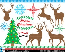 Christmas deers Set Clipart - Digital Clip Art Graphics, Personal, Commercial Use - winter holiday deer - 29 PNG images (00083)