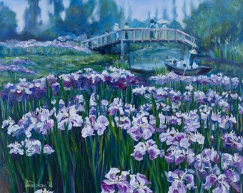 Oil Painting Japanese Iris Garden ORIGINAL Artwork Blue Green Wall Decor Wall Hanging Art Impressionism Landscape 45.5x53cm