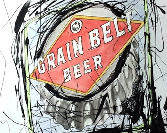 Grain Belt Beer Sign Drip Painting