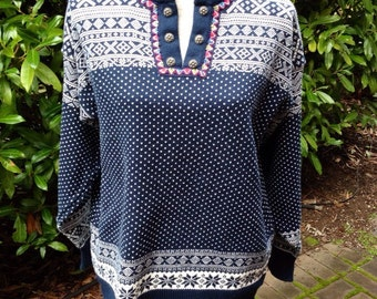 Dale of Norway, Norwegian henley sweater 100%cotton made in Norway-size M