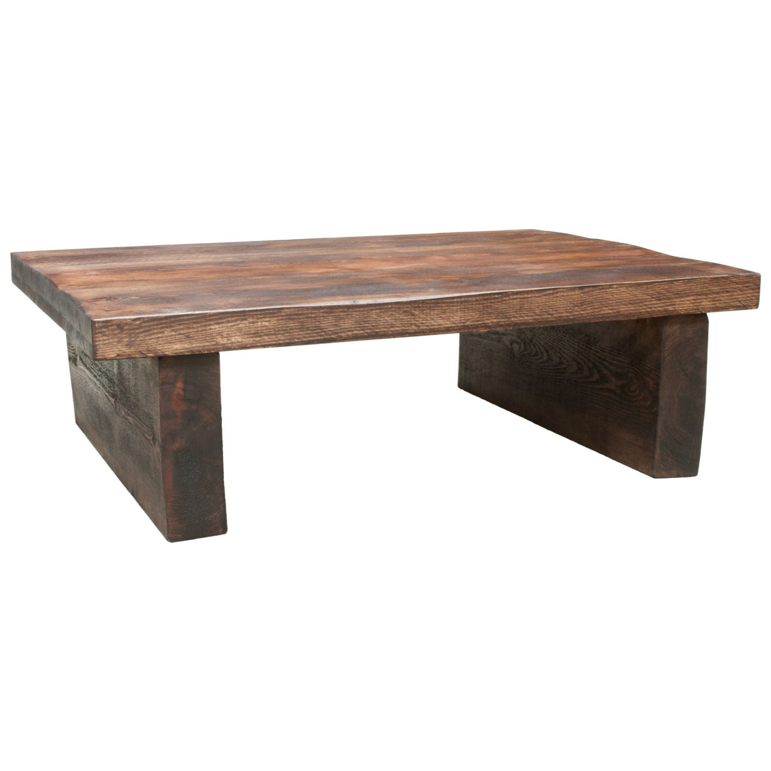 handmade chunky wooden coffee table with a by