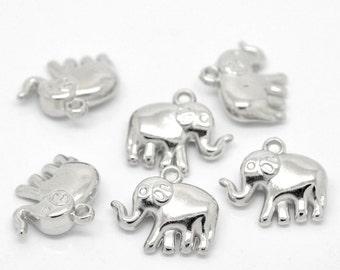 "Silver Tone  Elephant Animal Charm Pendants 24mmx21mm(1""x 7/8""), 5pcs"
