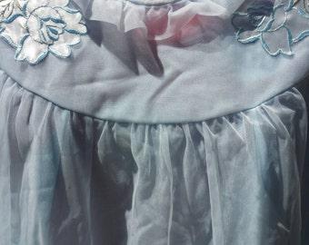 Nightie vintage baby blue nylon nightie gauzy layer pretty applique blue roses feminine frilly neckline