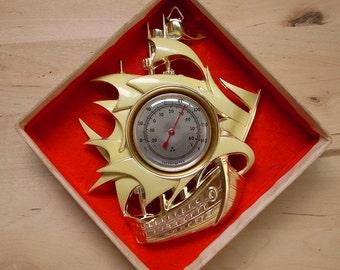 Vintage Metal Sailboat Thermometer Japan