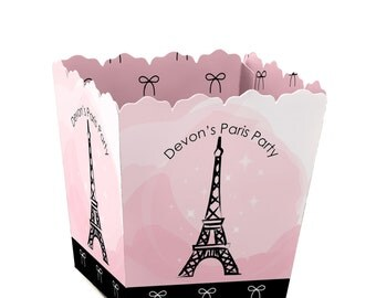 Paris Custom Small Candy Boxes - Personalized Baby Shower or Birthday Party Supplies - Set of 12