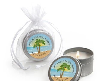 12 Beach Candle Tin Bridal Shower Favors