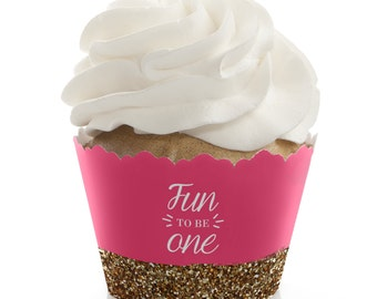Fun to be One - 1st Birthday Girl Cupcake Wrappers - First Birthday Party Cupcake Supplies - Set of 12 Pink and Gold Cupcake Liners
