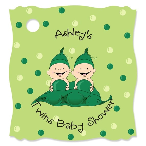 Two peas in a pod personalized party tags baby shower or for Peas in a pod craft