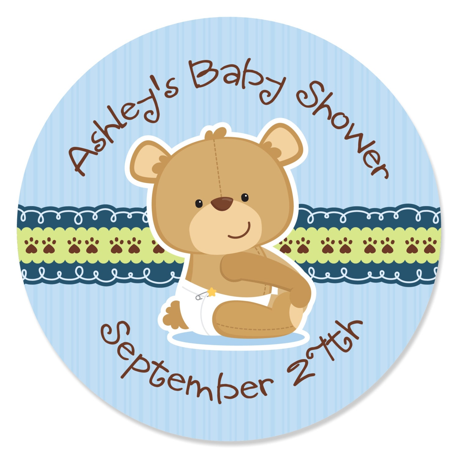 24 Boy Teddy Bear Circle Stickers Personalized Baby Shower