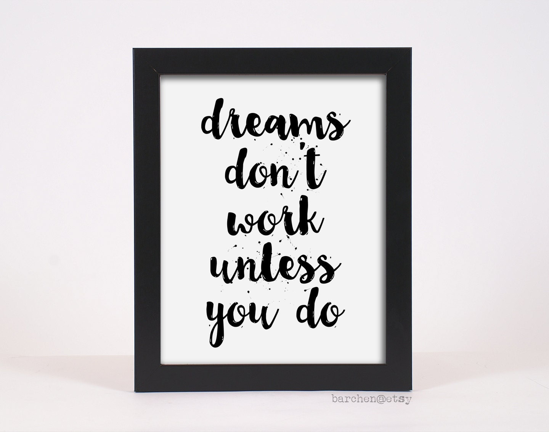 dreams don 39 t work unless you do handlettered font by barchen. Black Bedroom Furniture Sets. Home Design Ideas