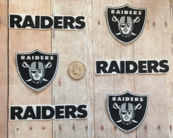 Handmade Iron On Appliques Oakland Raiders Logo Cotton Fabric 6 Piece Set