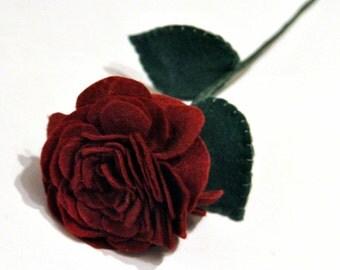 A Single Red Rose / Romantic Gift / felt rose / handmade rose / everlasting flower / valentines gift