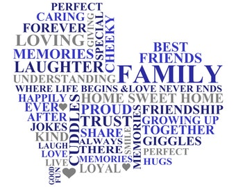 Personalised Family Word Art, A4 Print Only, Heart Shape, Gift, Present, Home