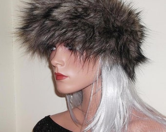Faux Fur Headband in Dark Brown with Spiky Black Tips