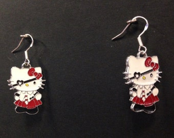 Pirate Hello Kitty Hot Pink Blue and Red Earrings 925 Sterling Silver Hooks