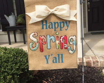 Burlap Spring Garden Flag/Banner