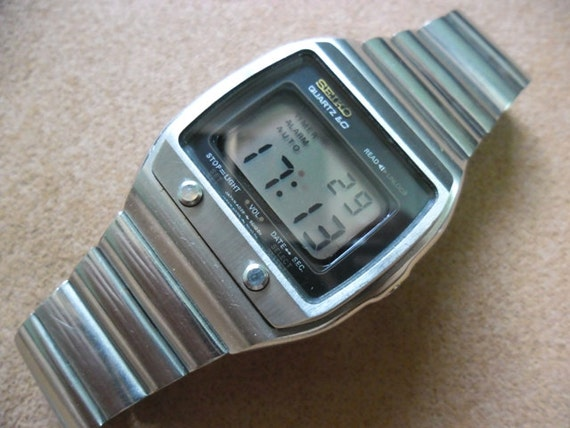 vintage seiko lc top button from 1970 s digital lcd