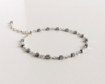 Sterling Silver Hematite Cube Bead wire wrapped bracelet