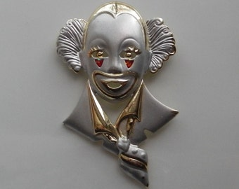 Unique Vintage Clown Brooch!