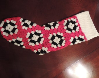 Red, White and Black Hand Crochet Granny Square Christmas Stocking