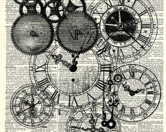 Clock Gears Vintage Art Print. Vintage book page art print. Print on book page.
