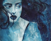 North Wind-- a print of lovely blue watercolor painting