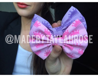 Purple and Pink Princess Crowns Bows