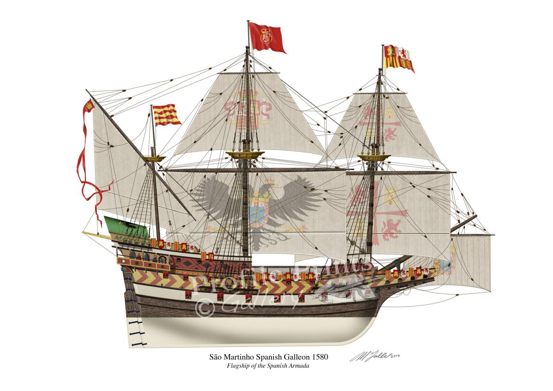 spanish galleon sao martinho 1580 profile artwork a3 glossy