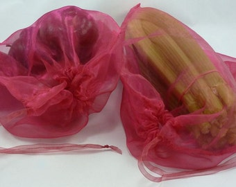 Set of 2 hot pink reusable vegetable bags