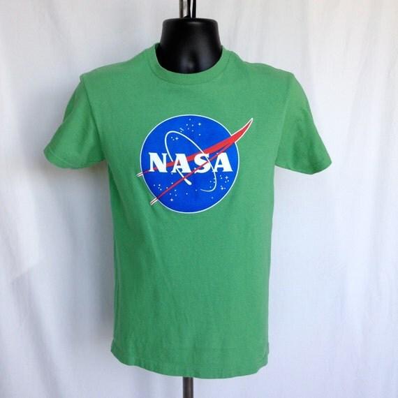 Vintage Green NASA Space T-Shirt / Size Small