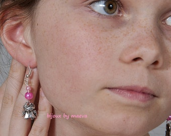 Child jewelry pink little angel earrings
