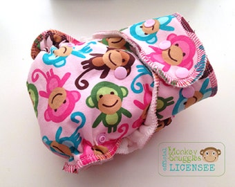 Pink Monkeys OSFM Fitted Cloth Nappy